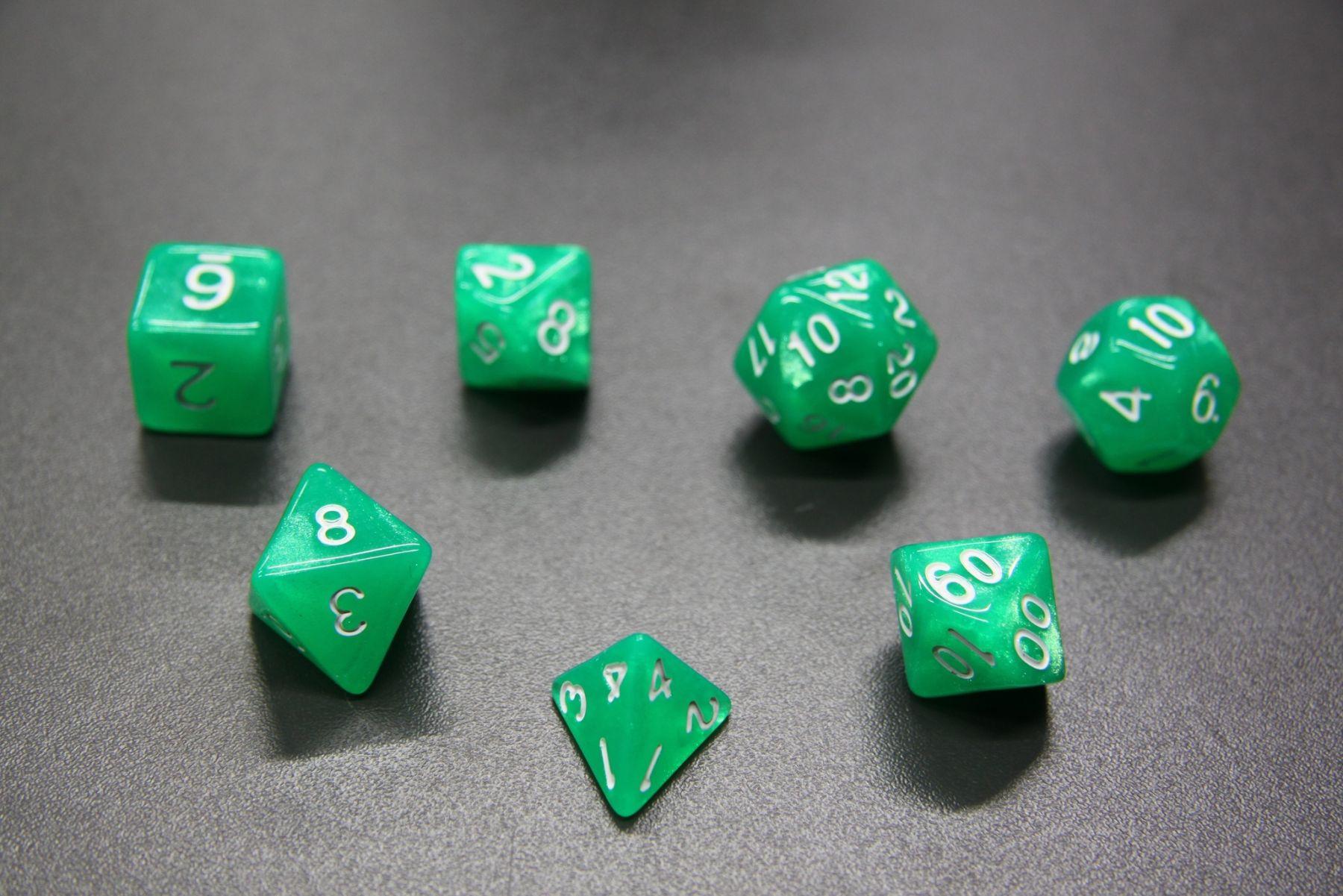 Набор кубиков D4-D100 - Аврора Зеленая