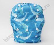 Подгузник для плавания Дельфины на синем