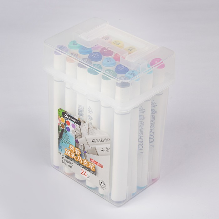 Фломастеры разноцветные в упаковке с ручкой 24 шт