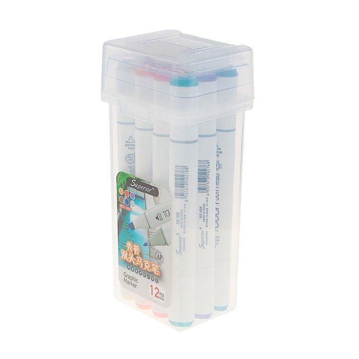 Фломастеры разноцветные в упаковке с ручкой 12 шт