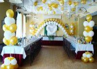 Оформление свадьбы золотыми и белыми шариками