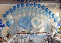 Оформление шарами свадьбы в голубых тонах