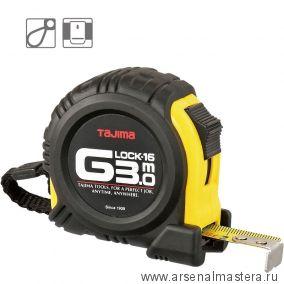 Рулетка TAJIMA G LOCK обрезиненный корпус цвет черно-желтый 3 м / 16 мм G6P30MT