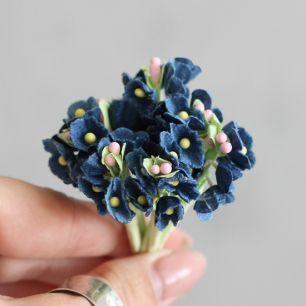 Букетик бумажных цветов, синий - Кукольная миниатюра