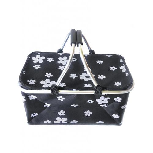 Термокорзина для пикника и покупок, 29 л, Цвет Черный (цветы)