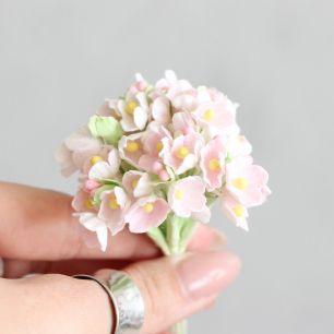 Букетик бумажных цветов, розовый - Кукольная миниатюра