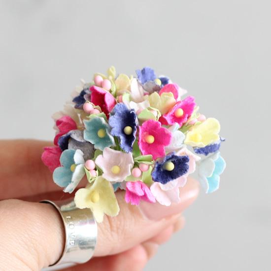 Букетик бумажных цветов, пёстрый - Кукольная миниатюра