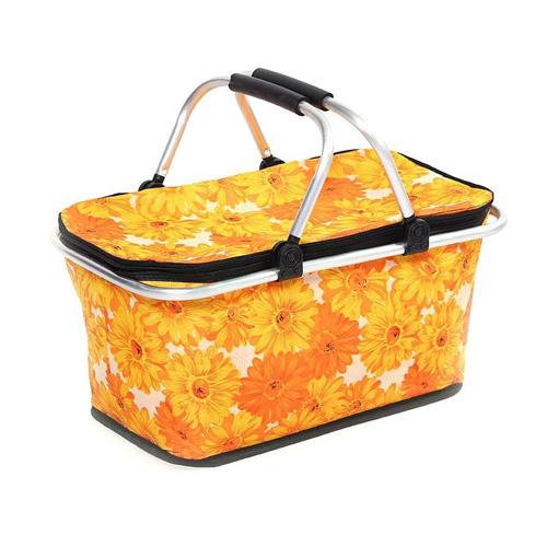 Термокорзина для пикника и покупок, 29 л, Оранжевые герберы