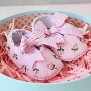 Балетки текстильные розовые 11 см