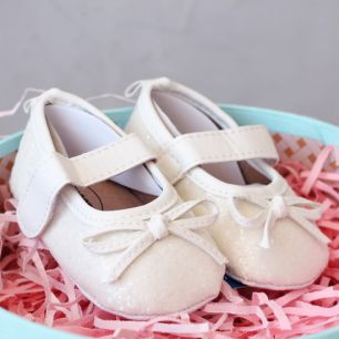Туфельки с блёстками молочные 11 см