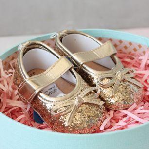 Туфельки с блёстками золотые 11 см