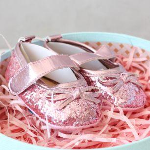 Туфельки с блёстками розовые 11 см