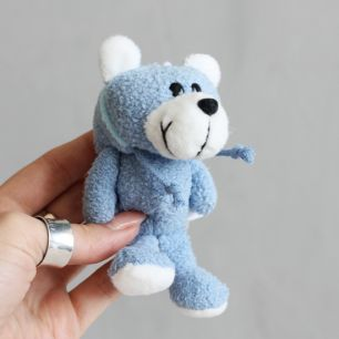 Игрушка для куклы - Мишка NICI с капюшоном голубой, 11 см