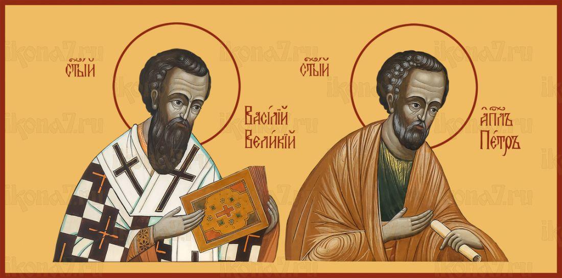 Икона Святой Апостол Петр и Святитель Василий Великий
