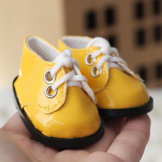 Обувь для кукол - ботиночки лаковые желтые 5 см