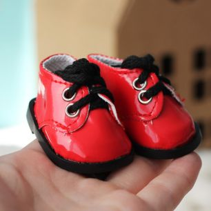 Обувь для кукол - ботиночки лаковые красные 5 см