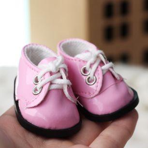 Обувь для кукол - ботиночки лаковые розовые 5 см