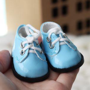 Обувь для кукол - ботиночки лаковые голубые 5 см