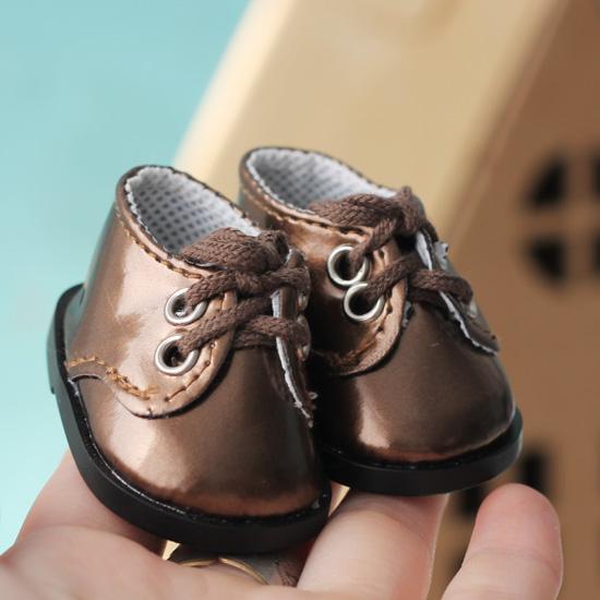 Обувь для кукол - ботиночки лаковые коричневые 5 см