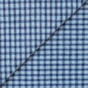 Хлопок фактурный клетка синяя 50х37