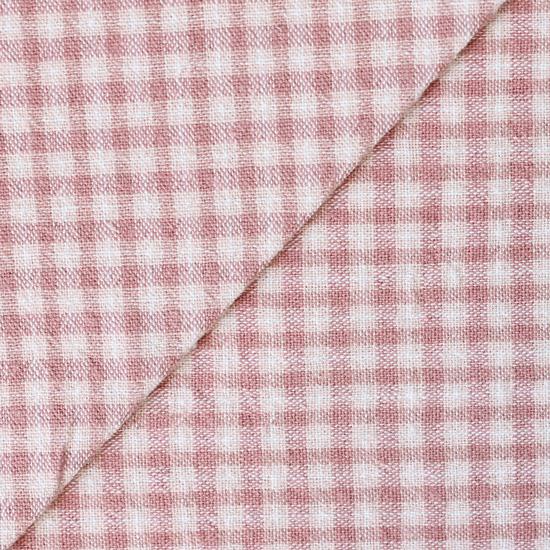 Хлопок фактурный клетка розовая 50х37