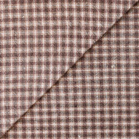 Хлопок фактурный клетка коричневая 50х37