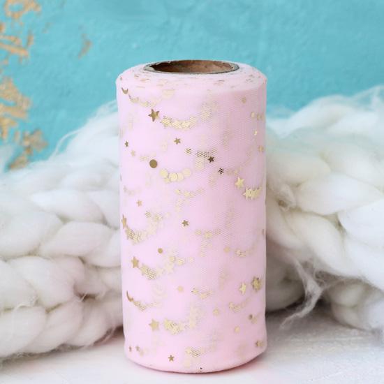 Фатин в рулоне - Розовый со звездами