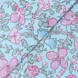 Хлопок цветы на голубом 50х40