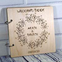 Книга пожеланий на свадьбу (свадебная книга) венок с цветами