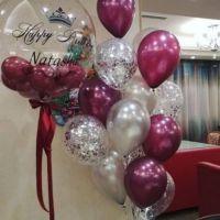 Воздушные шары с гигантом, бургундия и с конфетти