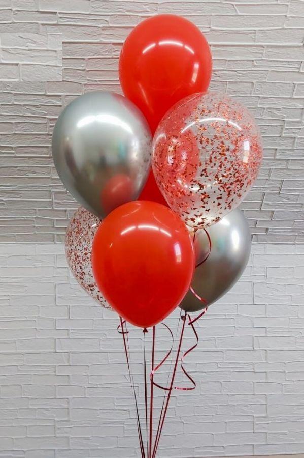 Гелиевые шары фонтан Красный с конфетти