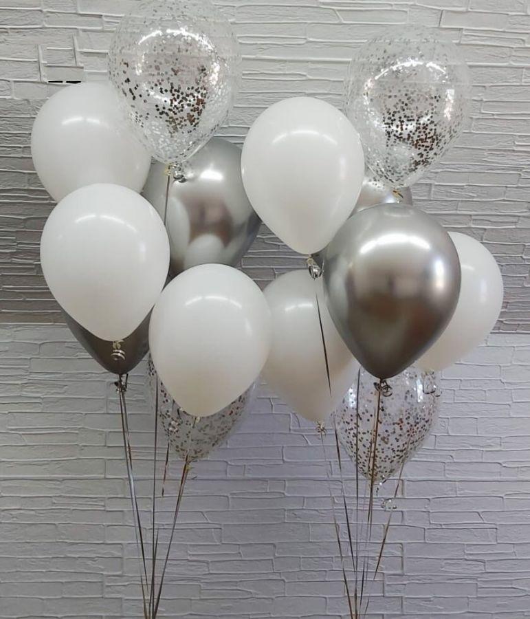 Гелиевые шары набор серебро и белые