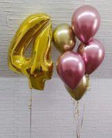 Гелиевые шары хром и цифра 4