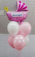 Гелиевые шары фонтан встреча из роддома, девочка.