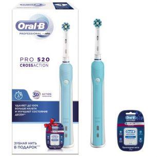 Электрическая зубная щетка Oral-B Pro 520 Cross Action + зубная нить Pro-Expert
