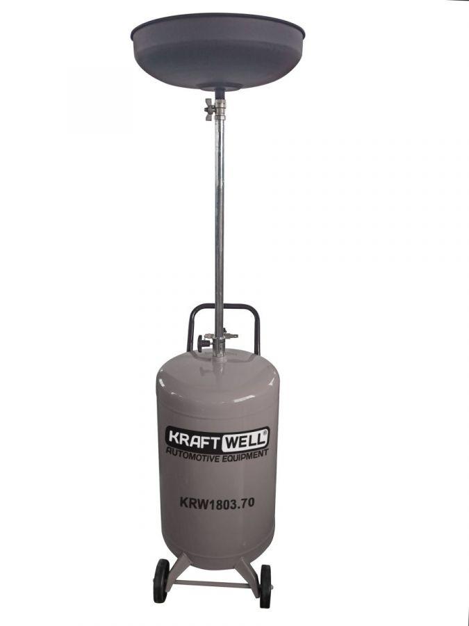 KraftWell KRW1803.70 Установка для слива масла/антифриза с круглой подъемной ванной, мобильная