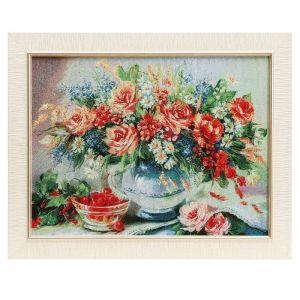 """Картина из гобелена """"Букет и чашечка с вишней"""", 35х45 см"""