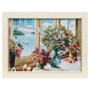 "Картина из гобелена ""Букеты у окна"", 35х45 см"