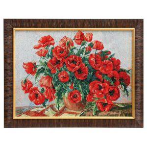 """Картина из гобелена """"Маки в вазе"""", 35х45 см"""
