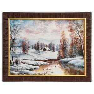 """Картина из гобелена """"Закат в зимней деревне"""", 35х45 см"""