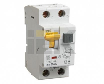Выключатель автоматический дифференцированного тока IEK АВДТ-32 2мод. C 16А 30мА тип AC