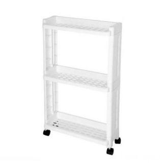 Пластиковая 3-х ярусная этажерка на колёсиках, 40х14х65 см
