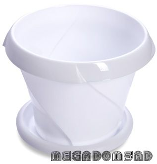 """Кашпо """"Флориана"""" с поддонником 0,7л Д135 белое С384БEЛ"""