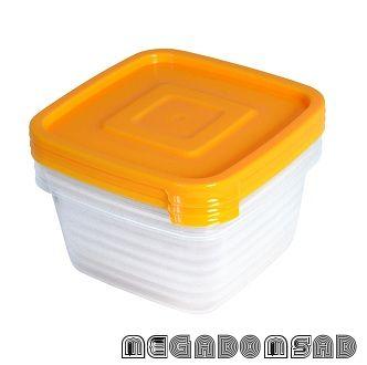 """Контейнер для продуктов (СВЧ) """"Унико"""" квадратный 0,45л набор 3шт. С215"""