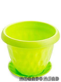 """Горшок для растений """"Розетта"""" 1,7л Д170 c поддоном зеленый С126ЗЕЛ"""
