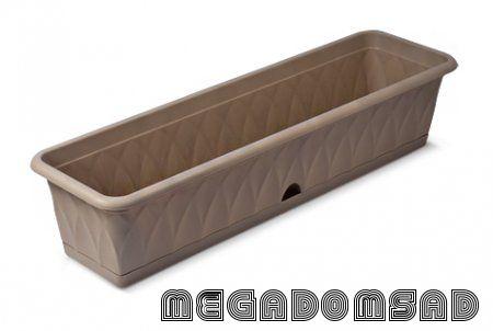 """Ящик для растений """"Сиена"""" 81см с поддоном серый С174-03-СЕР"""