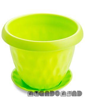 """Горшок для растений """"Розетта"""" 4,9л Д245 c поддоном зеленый С128ЗЕЛ"""