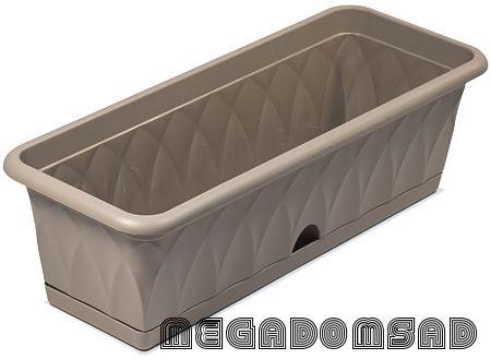 """Ящик для растений """"Сиена"""" 58см с поддоном серый С173-03-СЕР"""