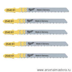 Набор полотен 5 шт по дереву для чистой резки без сколов Milwaukee JigBl T101B 75 мм / шаг зуба 2.5 мм 4932254061