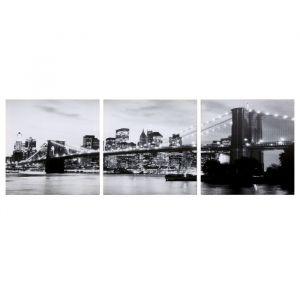 "Модульная картина ""Вечерний мост"" ч/б (3-35х35) 35х105 см 4983603"
